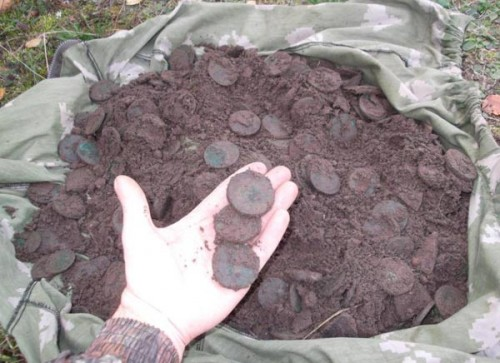 Монетный клад, фото, медные монеты