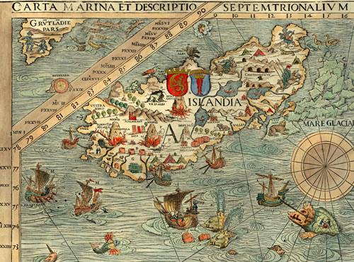 Карта Северной Европы Олая Магнуса 1567 г. (фрагмент)