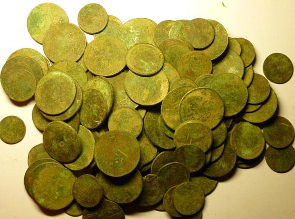 фото, клад медных монет