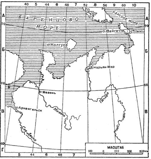 Сетка-указательница на рамках карты